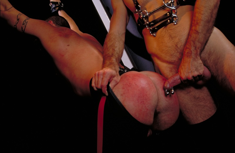 ClubInfernoDungeon prince albert Justin Southall Scott Samson Leather Fetish Fisting Anal Sex Buttplay Hairy Tattoos Bareback Sling 001 gay porn sex gallery pics video photo - Scott Samson forced to worship Justin Southall's boots and pierced Prince Albert cock