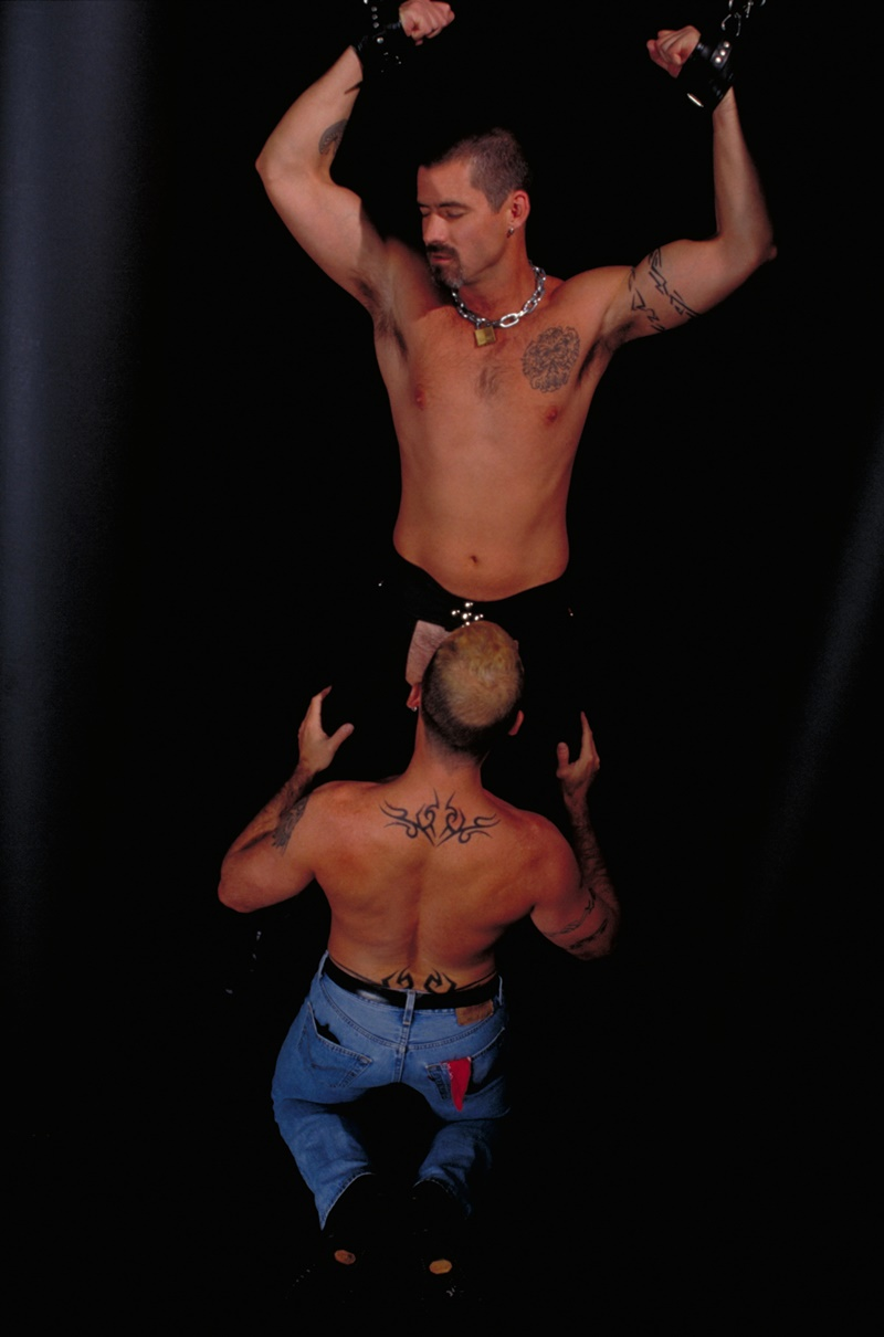 ClubInfernoDungeon prince albert Justin Southall Scott Samson Leather Fetish Fisting Anal Sex Buttplay Hairy Tattoos Bareback Sling 002 gay porn sex gallery pics video photo - Scott Samson forced to worship Justin Southall's boots and pierced Prince Albert cock