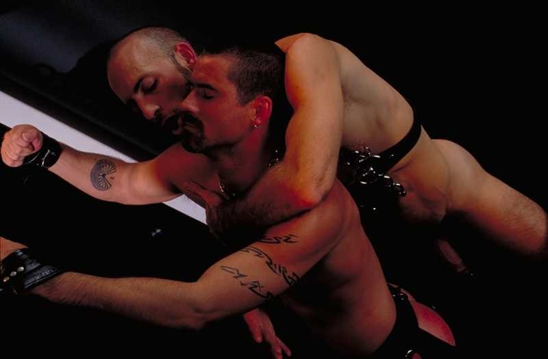 ClubInfernoDungeon prince albert Justin Southall Scott Samson Leather Fetish Fisting Anal Sex Buttplay Hairy Tattoos Bareback Sling 003 gay porn sex gallery pics video photo - Scott Samson forced to worship Justin Southall's boots and pierced Prince Albert cock