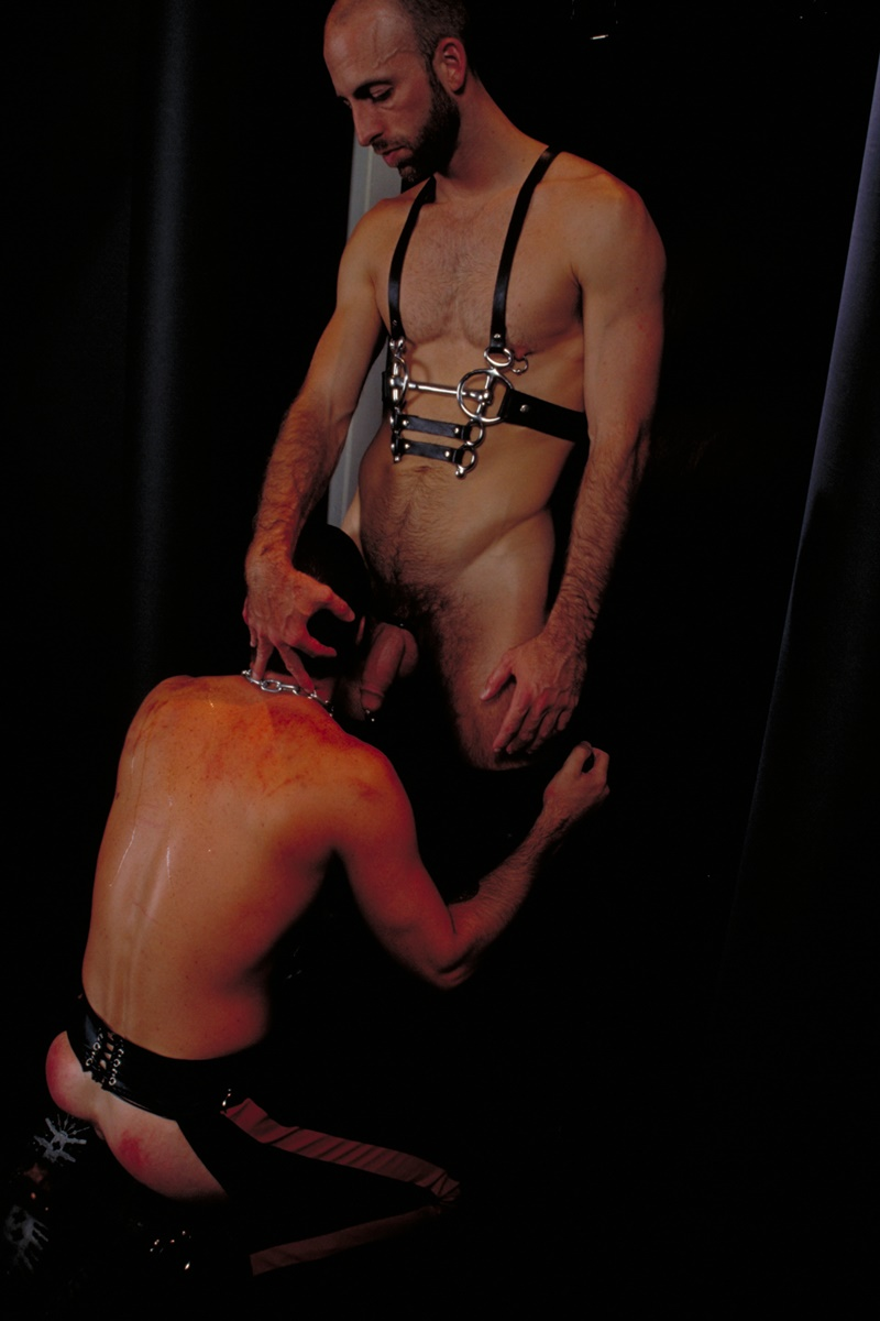 ClubInfernoDungeon prince albert Justin Southall Scott Samson Leather Fetish Fisting Anal Sex Buttplay Hairy Tattoos Bareback Sling 007 gay porn sex gallery pics video photo - Scott Samson forced to worship Justin Southall's boots and pierced Prince Albert cock