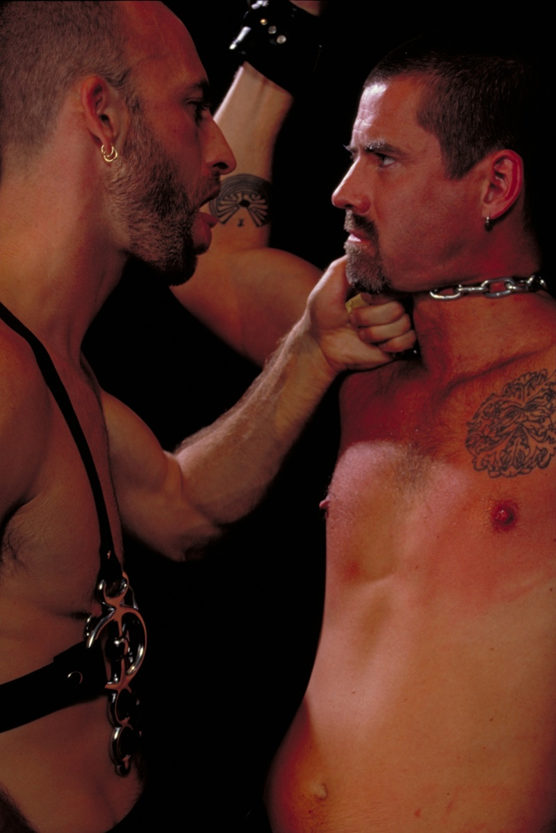 ClubInfernoDungeon prince albert Justin Southall Scott Samson Leather Fetish Fisting Anal Sex Buttplay Hairy Tattoos Bareback Sling 009 gay porn sex gallery pics video photo - Scott Samson forced to worship Justin Southall's boots and pierced Prince Albert cock