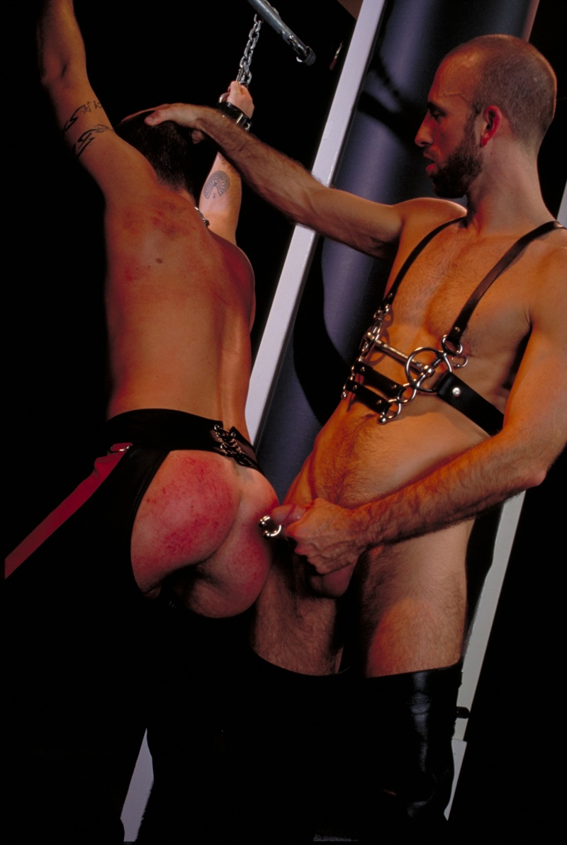 ClubInfernoDungeon prince albert Justin Southall Scott Samson Leather Fetish Fisting Anal Sex Buttplay Hairy Tattoos Bareback Sling 010 gay porn sex gallery pics video photo - Scott Samson forced to worship Justin Southall's boots and pierced Prince Albert cock