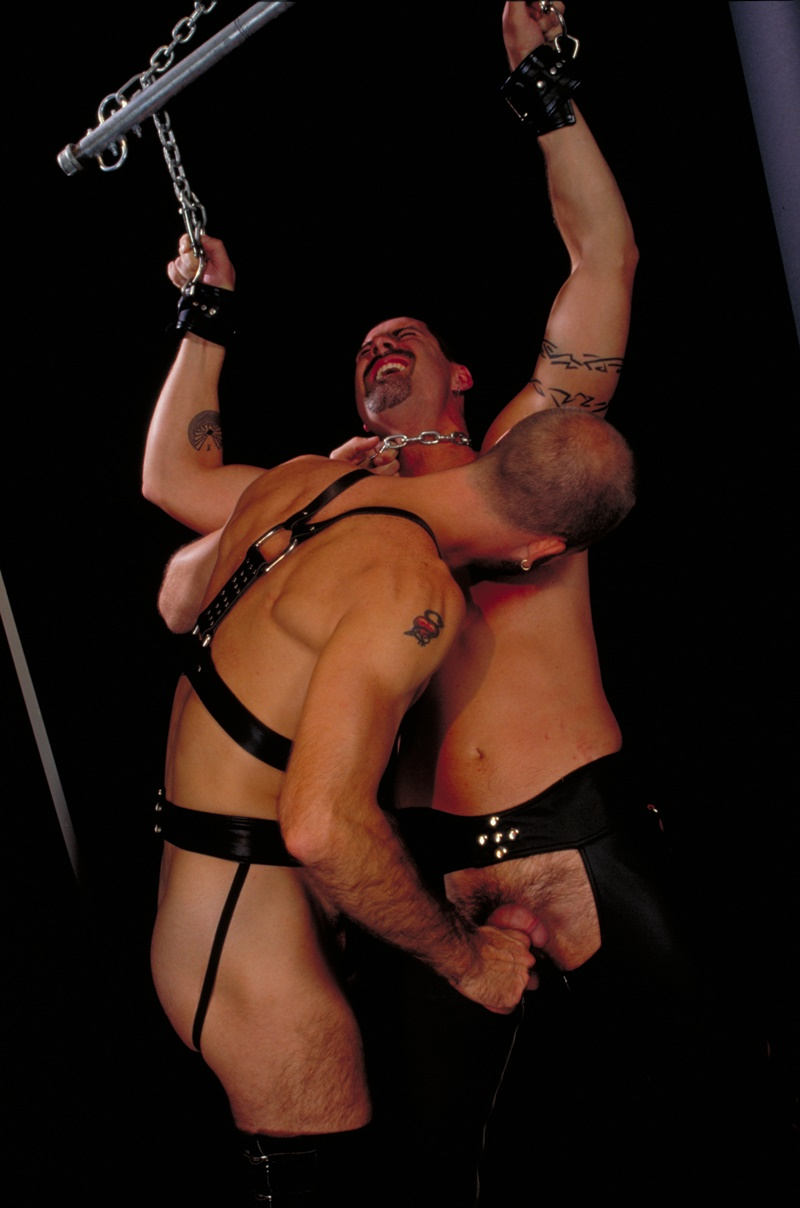 ClubInfernoDungeon prince albert Justin Southall Scott Samson Leather Fetish Fisting Anal Sex Buttplay Hairy Tattoos Bareback Sling 011 gay porn sex gallery pics video photo - Scott Samson forced to worship Justin Southall's boots and pierced Prince Albert cock