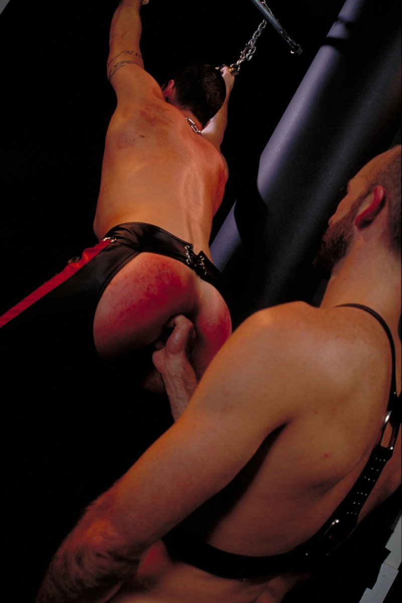 ClubInfernoDungeon prince albert Justin Southall Scott Samson Leather Fetish Fisting Anal Sex Buttplay Hairy Tattoos Bareback Sling 014 gay porn sex gallery pics video photo - Scott Samson forced to worship Justin Southall's boots and pierced Prince Albert cock