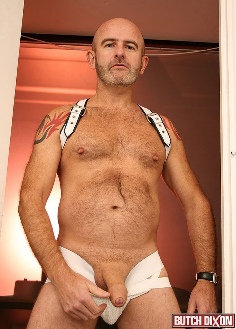 ButchDixon big hairy naked bear men Daddy Oliver large uncircumcized uncut dick foreskin jerk off solo huge cumshot orgasm jizz 001 gay porn sex gallery pics video photo - Daddy Oliver's foreskin stretches over the length of his thick uncut cock