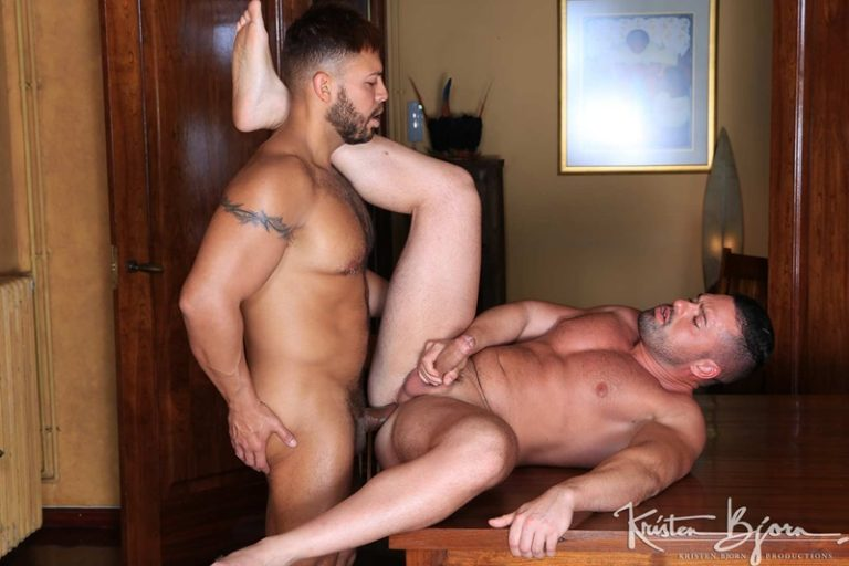 KristenBjorn sexy big muscle naked hunks Viktor Rom anal fucking Gabriel Lunna big cock mouth seed wet ass hole cum swallowing 002 gay porn sex gallery pics video photo 768x512 - Viktor Rom takes Gabriel Lunna's cum slicked cock into his mouth savouring his partners wild seed
