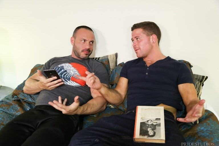 MenOver30 older male youngder boy Joey Doves strokes big dick cum load Buddy Mason hairy chest ass fucking cocksucking rimming anal 002 gay porn sex gallery pics video photo 768x512 - Joey Doves pulls out and strokes his dick until his cream load escapes onto Buddy Mason's hairy chest