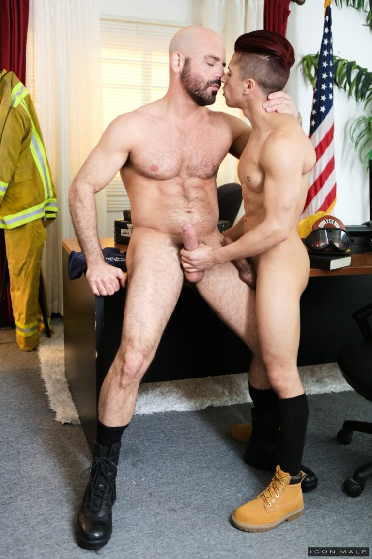 IconMale Fireman older mature muscle guy Adam Russo huge dick fantasy fucks younger Armond Rizzo tight little asshole cocksucking 002 gay porn sex gallery pics video photo 768x1152 - Fireman Adam Russo's huge dick fantasy fucks Armond Rizzo's tight little asshole
