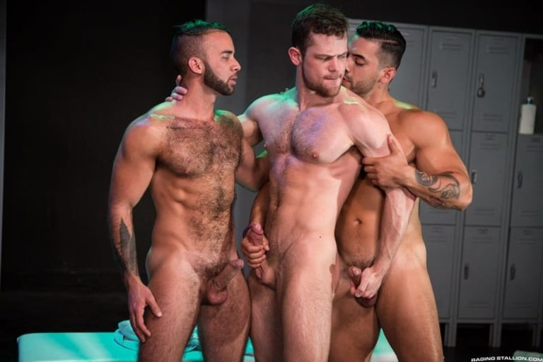 RagingStallion gay porn ripped naked muscle dudes huge dicks sex pics Fernando Del Rio Arad Winwin Kurtis Wolfe 001 gallery video photo 768x512 - Fernando Del Rio and Arad Winwin take turns servicing Kurtis Wolfe's huge cock and fingering his ass