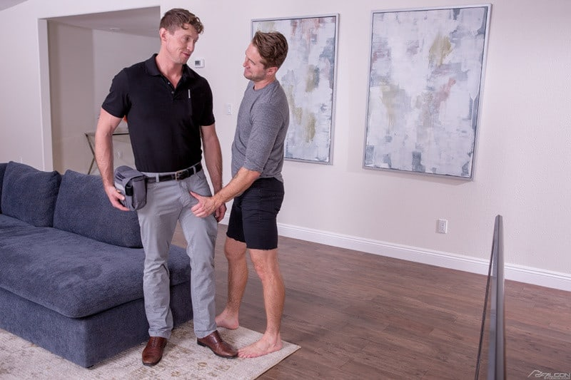 FalconStudios Wesley Woods big cock sucks Pierce Paris hung nude muscle stud anal rimming 007 gallery video photo - Wesley Woods pulls Pierce Paris' pants to his ankles and sucks the hung studs big dick