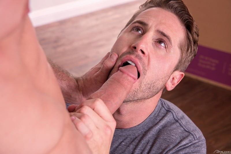 FalconStudios Wesley Woods big cock sucks Pierce Paris hung nude muscle stud anal rimming 008 gallery video photo - Wesley Woods pulls Pierce Paris' pants to his ankles and sucks the hung studs big dick