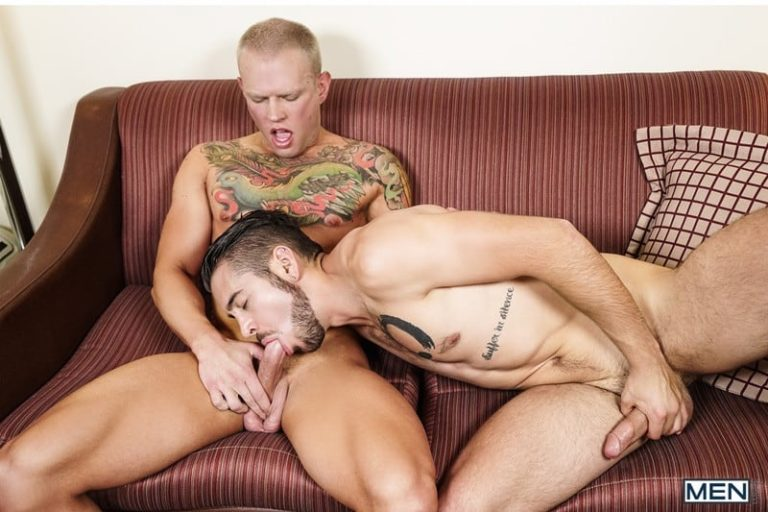 Men Blue eyed stud Brett Lake horny ass dildo moaning Dante Colle jerking bit erect cock sucker 001 gallery video photo 768x512 - Blue-eyed stud Brett Lake is so horny working his ass down hard on his wall dildo moaning so loud Dante Colle can hear him jerking